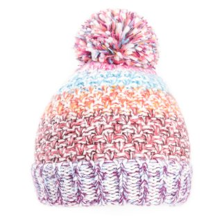 Wholesale bobble hat with striped multicoloured yarn