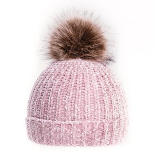 Wholesale ladies chenille hat with faux fur pom pom