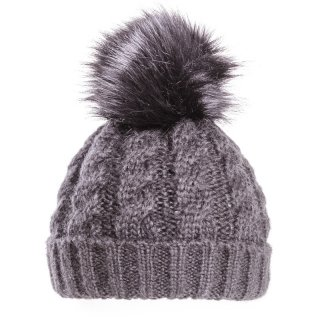 Ladies cable knit hat with faux fur pom pom from hat supplier SSP Hats