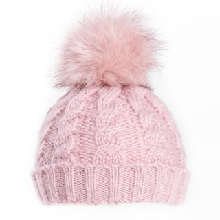 Ladies cable knitted hat in pink from hat supplier SSP Hats