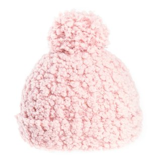 Ladies popcorn yarn bobble hat in pink from hat supplier SSP Hats
