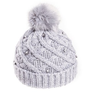 Grey wholesale faux diamonte hat with faux fur pom pom