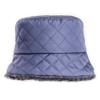 Wholesale quilted bush hat in navy with faux fur lining