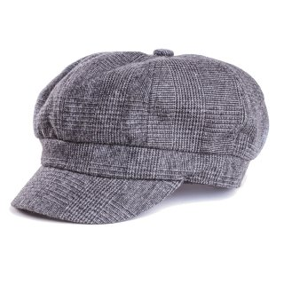 A1448-LADIES CHECK BAKERBOY CAP WITH VELCRO