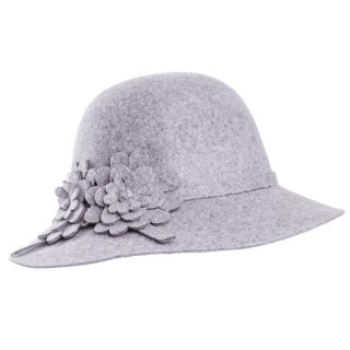 Wholesale wool felt short brim hat in grey