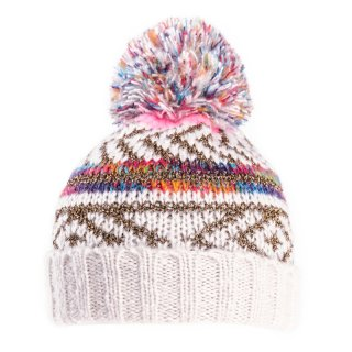 Wholesale bobble hat with metallic weave with fleece lining