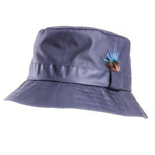 Wholesale wax bush hat featuring a feather detail in navy