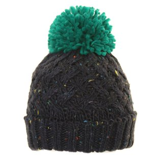 Bulk bobble hat from chunky knit materials and green pom pom