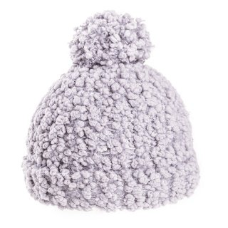 Bulk bobble hat with light grey popcorn yarn
