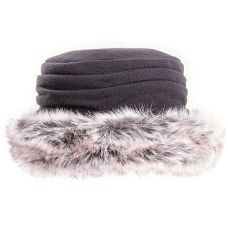 Wholesale country style hat in black with faux fur brim