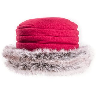 Wholesale country style hat in red with faux fur brim