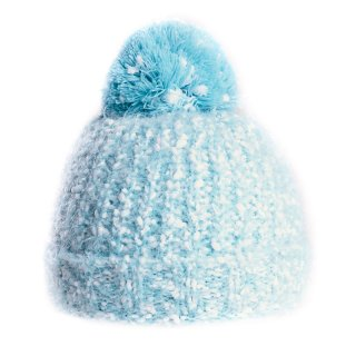 Wholesale bobble hat with light blue popcorn yarn