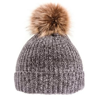 Wholesale chenile bobble hat with a brown faux fur pom pom