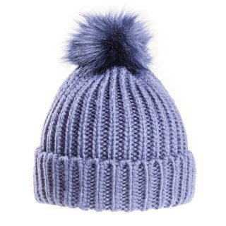 Bulk chunky knit bobble hat featuring a faux fur pom pom
