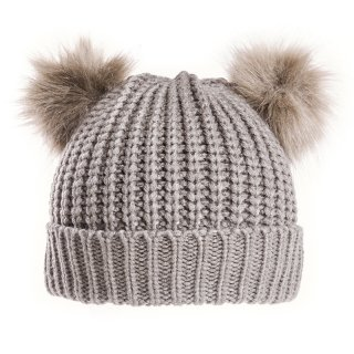 A1481-LADIES CHUNKY KNIT WITH DOUBLE FAUX FUR POM-POMS