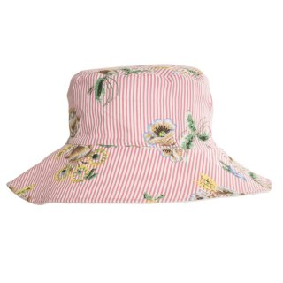 Wholesale Cotton hat for ladies with pink floral Pinstripe design