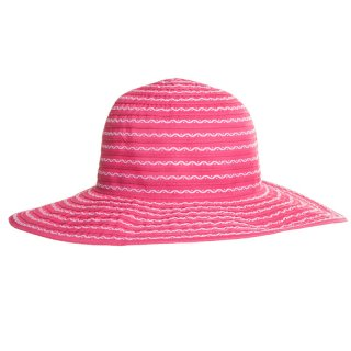 Wholesale wide brim hat with pink striped pattern for ladies