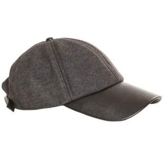 Wholesale baseball cap with grey faux leather peak