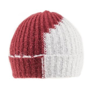 Wholesale ladies 2 tone ski hat in red and white