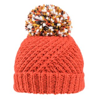 Orange ladies chunky knitted bobble hat from wholesale supplier SSP Hats Ltd