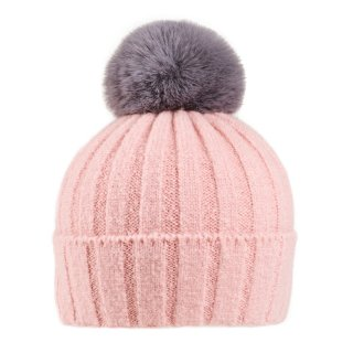 Wholesale ladies acrylic super soft pink faux fur bobble hat with pom pom