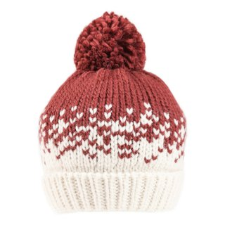 Wholesale patterned chunky knit bobble hat in maroon for ladies