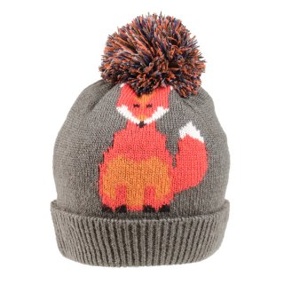 Wholesale ladies fox print knitted bobble hat in grey