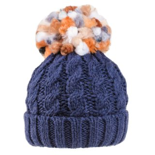 Navy ladies chunky knitted bobble hat with fleece lining available for wholesale purchase