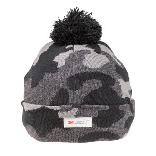 Wholesale mens camo thinsualte knitted bobble hat in black
