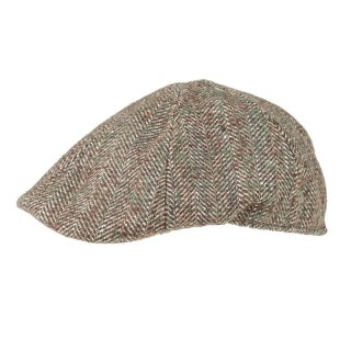 Wholesale mens preformed-peak olive herringbone flat cap