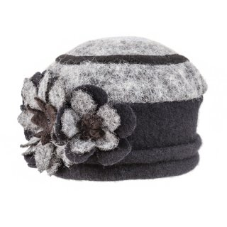 Wholesale ladies felt hat with flower detail in grey and black