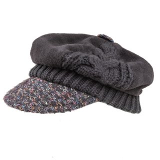 Wholesale ladies patterned bakerboy cap with fleece lining
