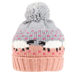 Wholesale pink ladies sheep print knitted bobble hat