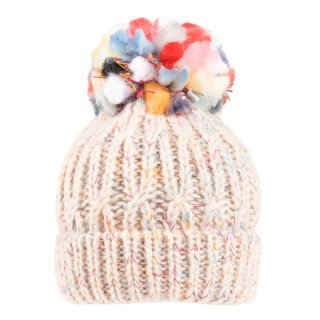 Wholesale ladies chunky acrylic knitted hat in white