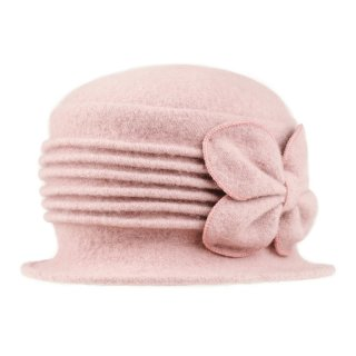 Wholesale crushable pink wool hat with bow detail