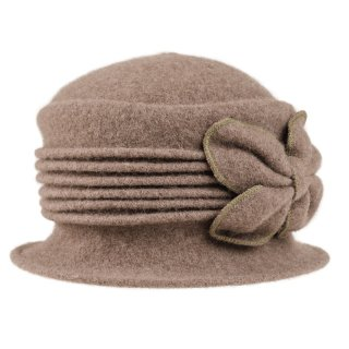 Wholesale crushable khaki wool hat with bow detail