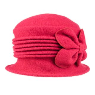 Wholesale ladies crushable red wool hat with flower detail