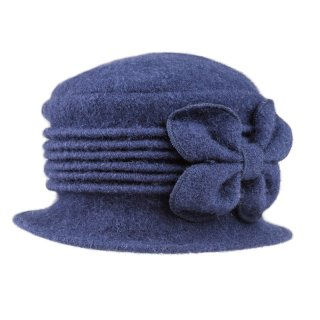 Wholesale ladies crushable dark blue wool hat with flower detail