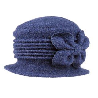 Wholesale ladies crushable dark blue wool hat with flower detail