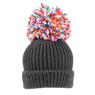 Wholesale ladies extra large multi knitted pompom in black