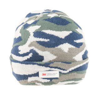 Wholesale mens thinsulate navy camo print ski hat