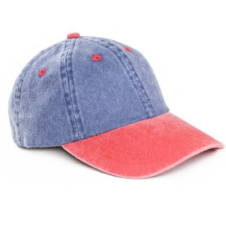 Wholesale adults unisex washed baseball cap with red peak and developed from cotton