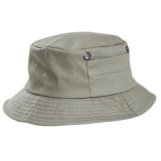 Wholesale mens cotton bush hat which features side pockets in stone colour