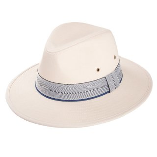 Wholesale mens cotton fedora hat with blue and white patterned band
