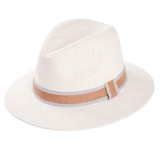 Developed from cotton and linen this wholesale mens fedora is available in beige