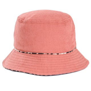 Wholesale ladies rust coloured reversible leopard print bucket hat developed from cotton and polyester