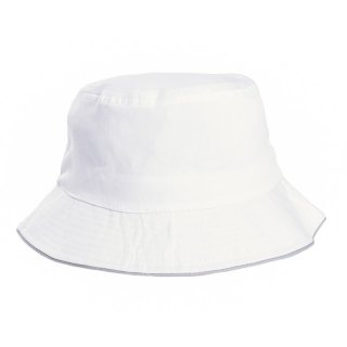 Adults unisex plain cotton bush hat in white