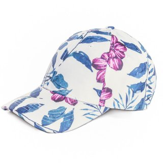 Wholesale ladies polyester floral pattern baseball cap in red and blue