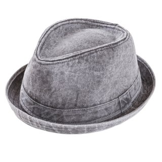 Wholesale mens washed cotton trilby hat in black