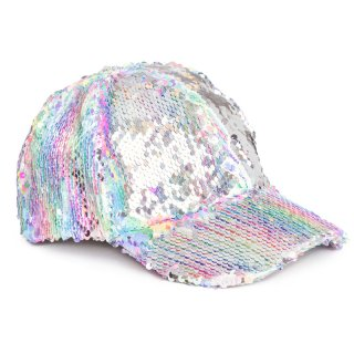 Wholesale ladies flipable pastel sequin baseball cap